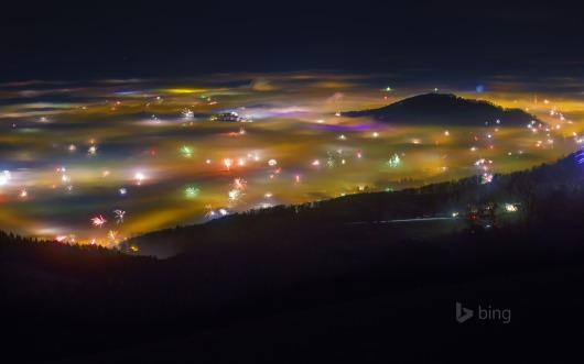 View of fireworks, Salzburg, Austria